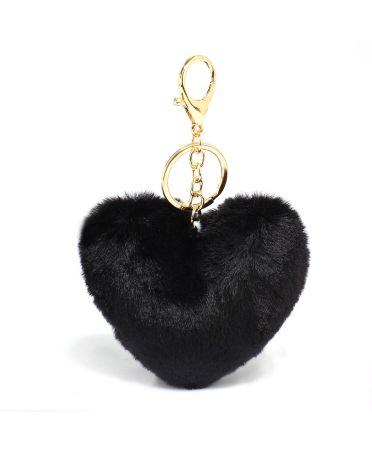Anna Grace přívěšek / klíčenka černá pompom heart 1014 AGC1014_BLACK