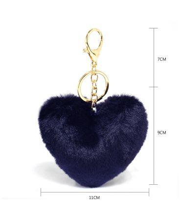 Anna Grace přívěšek / klíčenka námořnicky modrá pompom heart 1014 AGC1014_NAVY