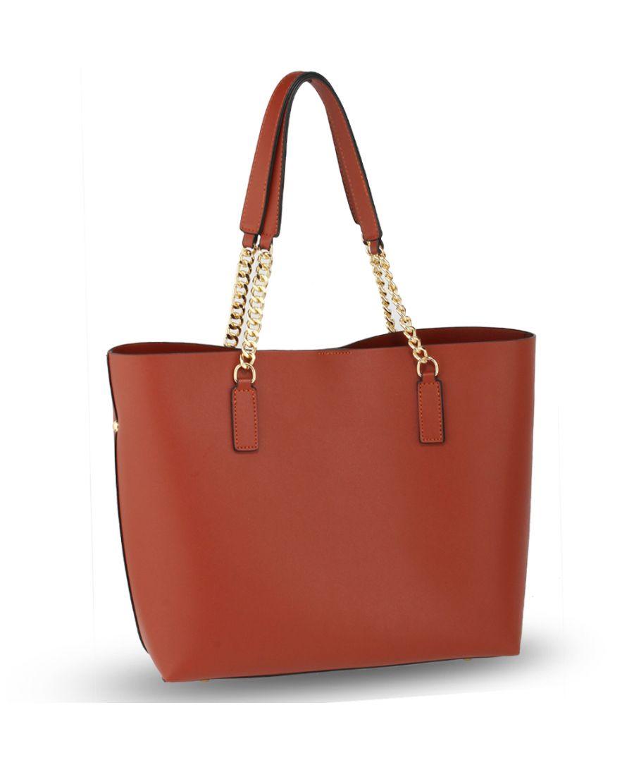 Anna Grace hnědá shopper kabelka s řetízkem přes rameno 664 AG00664_BROWN