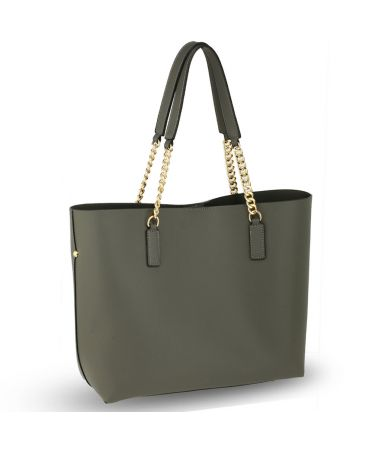 Anna Grace šedá shopper kabelka s řetízkem přes rameno 664 AG00664_GREY