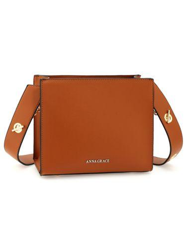 Anna Grace hnědá módní crossbody kabelka 596 AG00596_BROWN