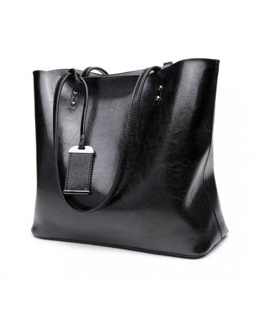 Miss Lulu černá kabelka z imitace voskované leštěné kůže 6710 E6710_BK