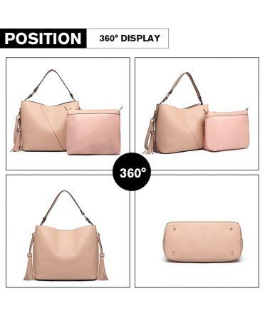 Miss Lulu růžová hobo kabelka se střapcem a pouzdrem 6862 LT6862_PK