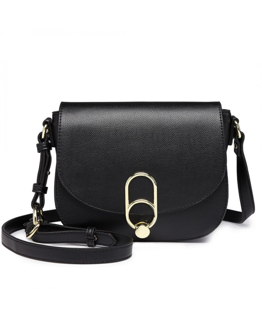 Miss Lulu černá elegantní crossbody kabelka se sponou 1831 LZ1831_BK