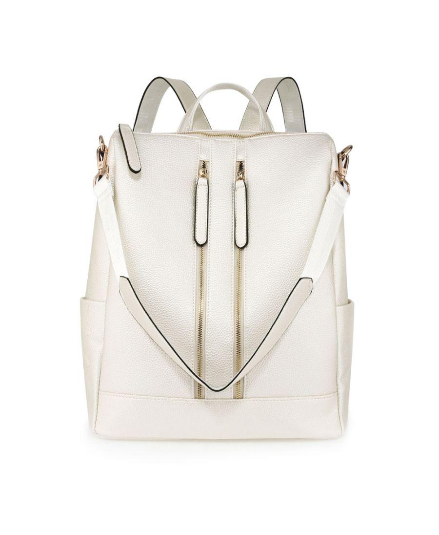 8bcffd0527e Anna Grace luxusní elegantní větší batoh krémový AG00523 IVORY