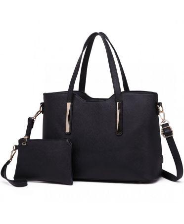 Miss Lulu černá shopper kabelka s pouzdrem 1719 S1719 BK