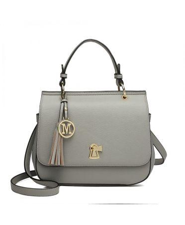 Miss Lulu elegantní šedá kabelka s přívěškem a střapcem LZ1832_GY