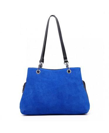 Miss Lulu modrá kožená luxusní kabelka se semišem 1724 LH1724_BE