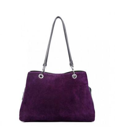 Miss Lulu fialová kožená luxusní kabelka se semišem 1724 LH1724_PE