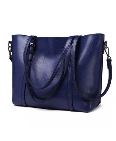 Miss Lulu velká námořnicky modrá kabelka z imitace voskované kůže 6709 E6709_NY