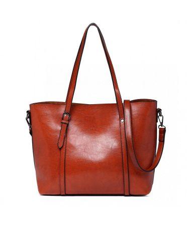Miss Lulu velká hnědá kabelka z imitace voskované kůže 6709 E6709_BN