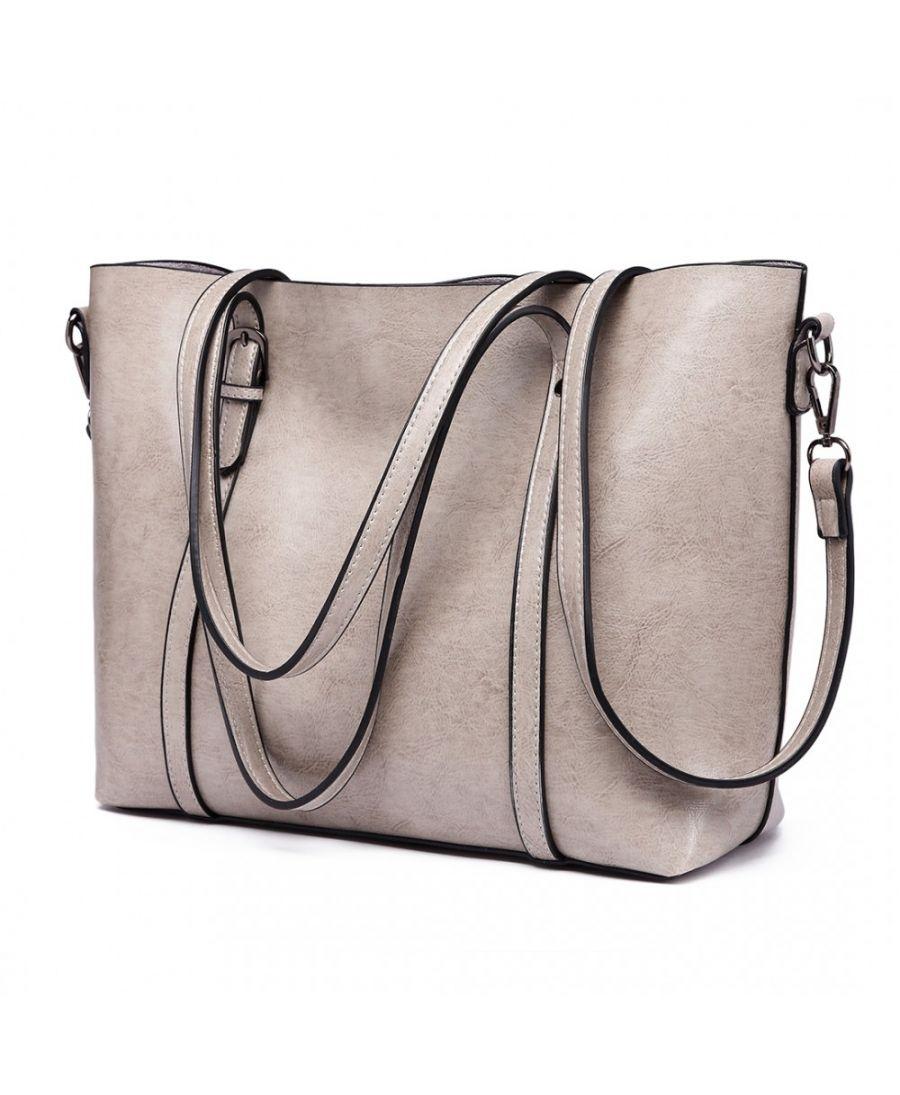 Miss Lulu velká šedá kabelka z imitace voskované kůže 6709 E6709_GY