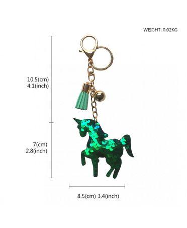 Glitter Unicorn Tassel Keychain Handbag Charm Decor Keyring GREEN ACC-UNICORN_GN