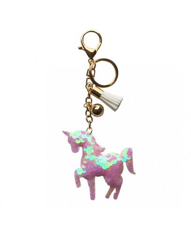 Glitter Unicorn Tassel Keychain Handbag Charm Decor Keyring BEIGE ACC-UNICORN BG