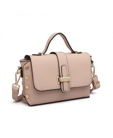 Miss Lulu crossbody kabelka v nýtkovaném designu BABY PINK 6858 LT6858_PK