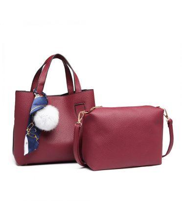 Miss Lulu vínově červená střední kabelka s pouzdrem 1913 E1913_BY
