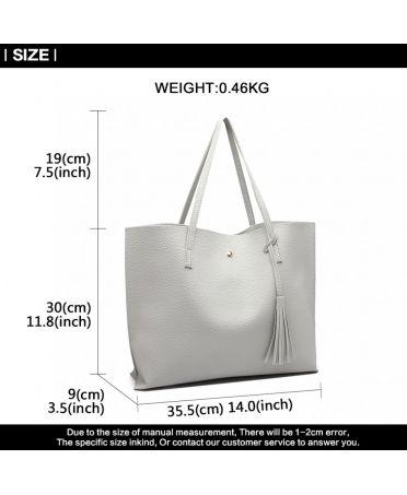 Miss Lulu jednoduchá velká kabelka LIGHT GREY 1919 E1919_GY