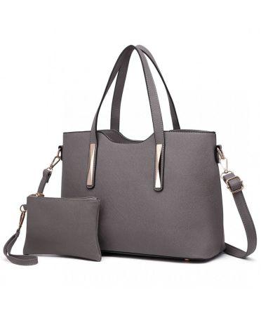 Miss Lulu šedá shopper kabelka s pouzdrem 1719 S1719 GY