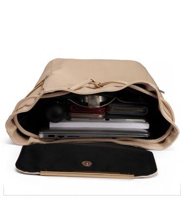 Miss Lulu elegantní světle béžový batoh 1669 E1669_BG