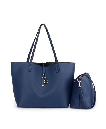 Anna Grace velká oboustranná kabelka námořnicky modrá - šedá AG00567_NAVY/GREY