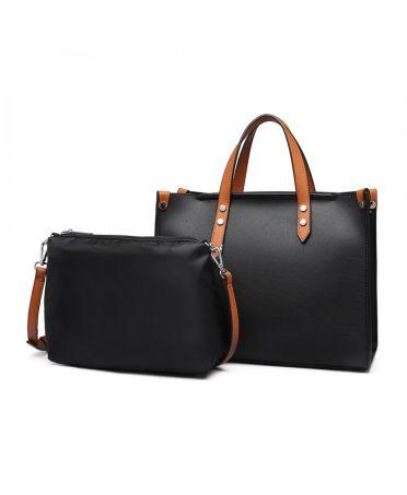 Miss Lulu kabelkový set 2 v 1 business BLACK 1910 LN1910_BK