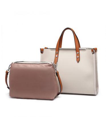 Miss Lulu kabelkový set 2 v 1 business BEIGE 1910 LN1910_BG