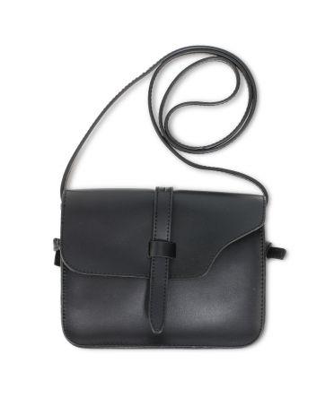 Anna Grace černá crossbody kabelka s klopou tvaru sedla 660 AG00660_BLACK