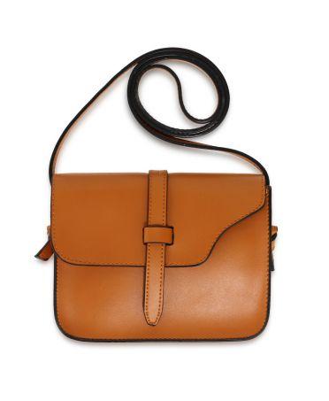 Anna Grace hnědá crossbody kabelka s klopou tvaru sedla 660 AG00660_TAN
