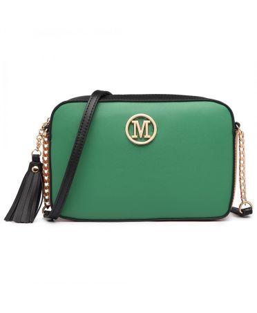 Miss Lulu zelená crossbody kabelka s řetízkem LT1862_GN