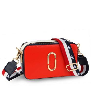 Anna Grace červená crossbody kabelka AG00726 AG00726_RED/WHITE/NAVY