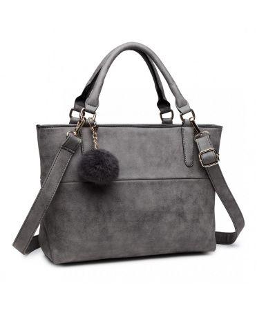 Miss Lulu šedá kabelka pompom 1768 E1768-GY