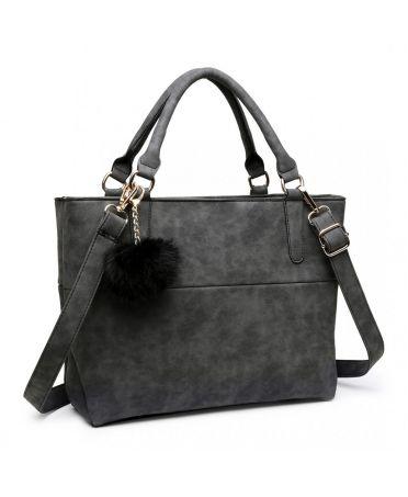 Miss Lulu černá kabelka pompom 1768 E1768-BK