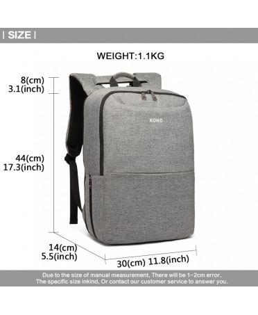 Kono voděodolný batoh šedý UNISEX s USB portem 6868 E6868_GY