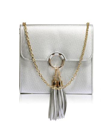 Anna Grace malá stříbrná kabelka psaníčko se střapcem 348 AGC00348_SILVER