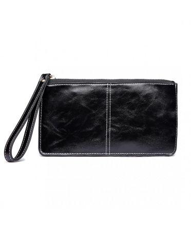 Miss Lulu dámská černá peněženka s efektem voskované kůže 6881BK LP6881_BK