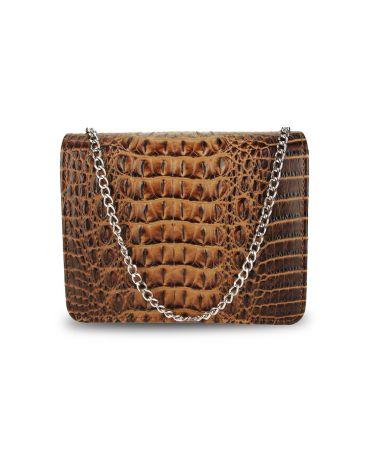 Anna Grace psaníčko hnědá kabelka s efektem krokodýlí kůže 350A AGC00350A_BROWN