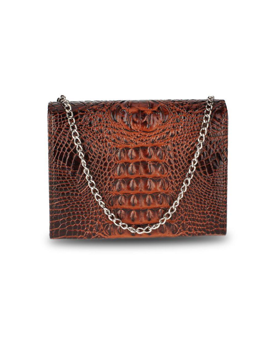 Anna Grace psaníčko kabelka s efektem krokodýlí kůže kávově hnědá 350A AGC00350A_COFFEE