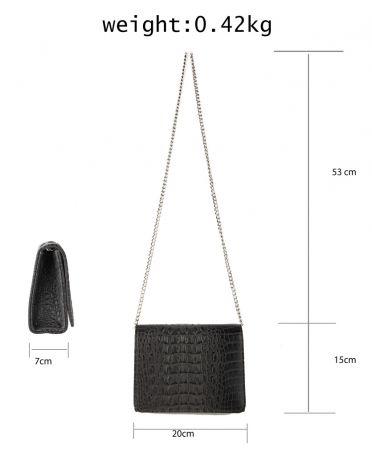 Anna Grace psaníčko kabelka s efektem krokodýlí kůže 350A AGC00350A_DARK_GRAY