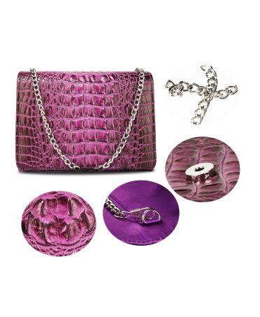 Anna Grace fialové psaníčko kabelka s efektem CROCO 350A AGC00350A_PURPLE