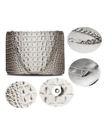 Anna Grace světle šedé psaníčko kabelka s efektem CROCO 350A AGC00350A_LIGHT_GREY