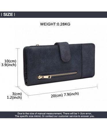Miss Lulu elegantní modrá peněženka 6883 LN6883_BE