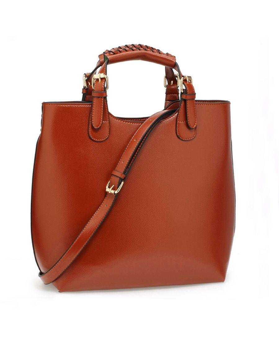 Anna Grace hnědá módní tote kabelka do ruky i přes rameno 267 AG00267_BROWN
