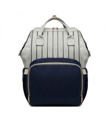 Miss Lulu šedý-modrý dámský batoh taška na kočárek 6814 E6814_BE