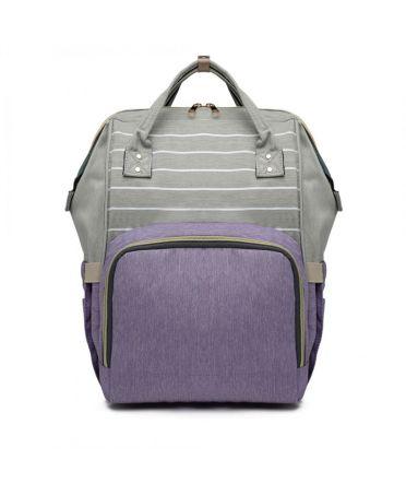 Miss Lulu šedý-fialový dámský batoh taška na kočárek 6814 E6814_PE