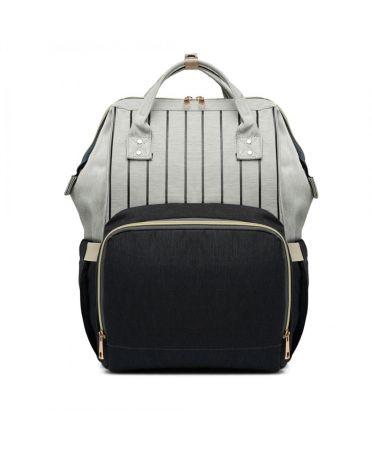 Miss Lulu šedý-černý dámský batoh taška na kočárek 6814 E6814_BK