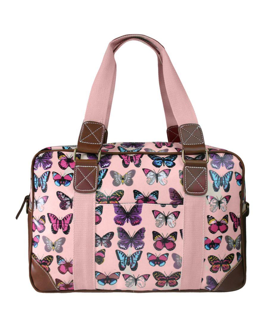 Miss Lulu dámská víkendová cestovní taška růžová butterfly 1106B L1106B_LPK