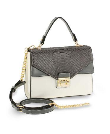 Anna Grace luxusní bílá-šedá kabelka SNAKE PRINT 724 AG00724_GREY/WHITE