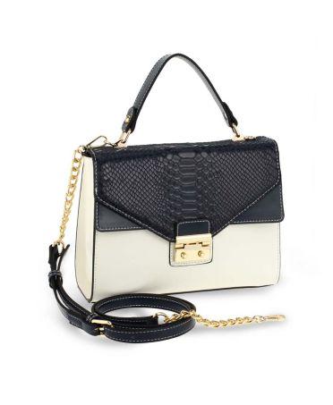 Anna Grace luxusní bílá-modrá kabelka SNAKE PRINT 724 AG00724_NAVY/WHITE