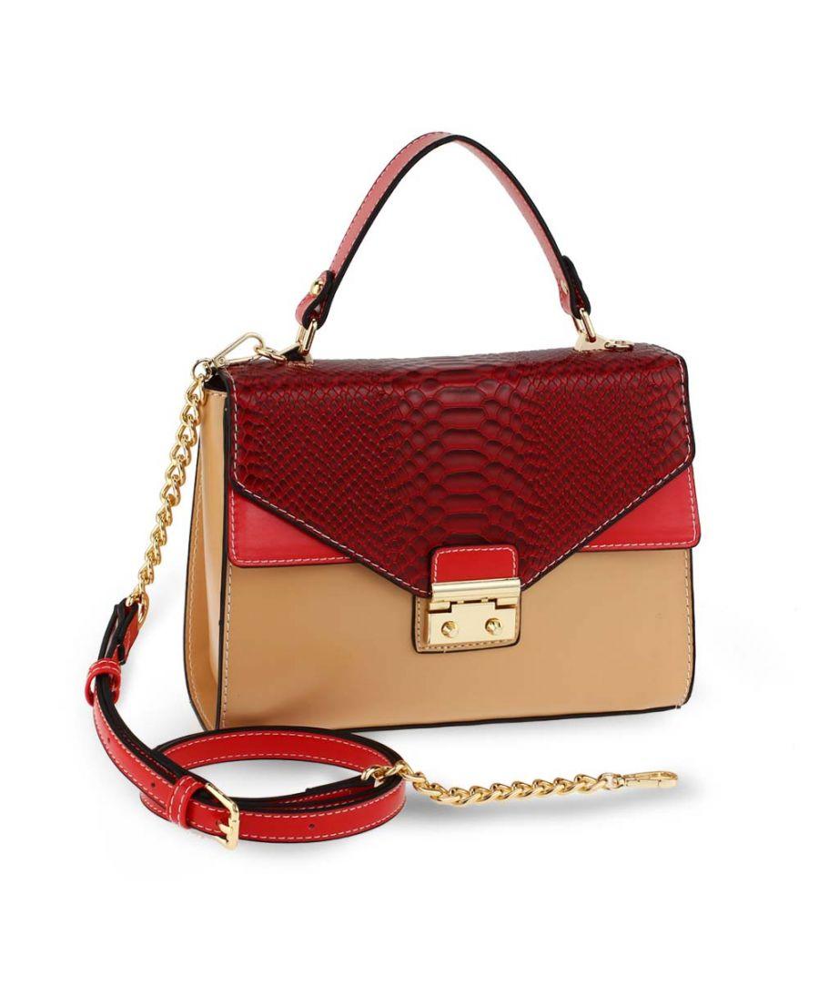Anna Grace luxusní béžová-červená kabelka SNAKE PRINT 724 AG00724_BURGUNDY/NUDE