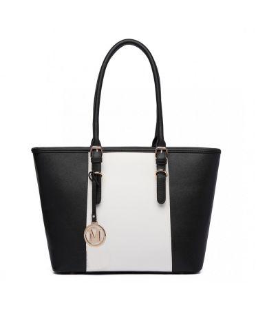 Miss LuLu černá-bílá tote kabelka s nastavitelnými uchy E1661 BK